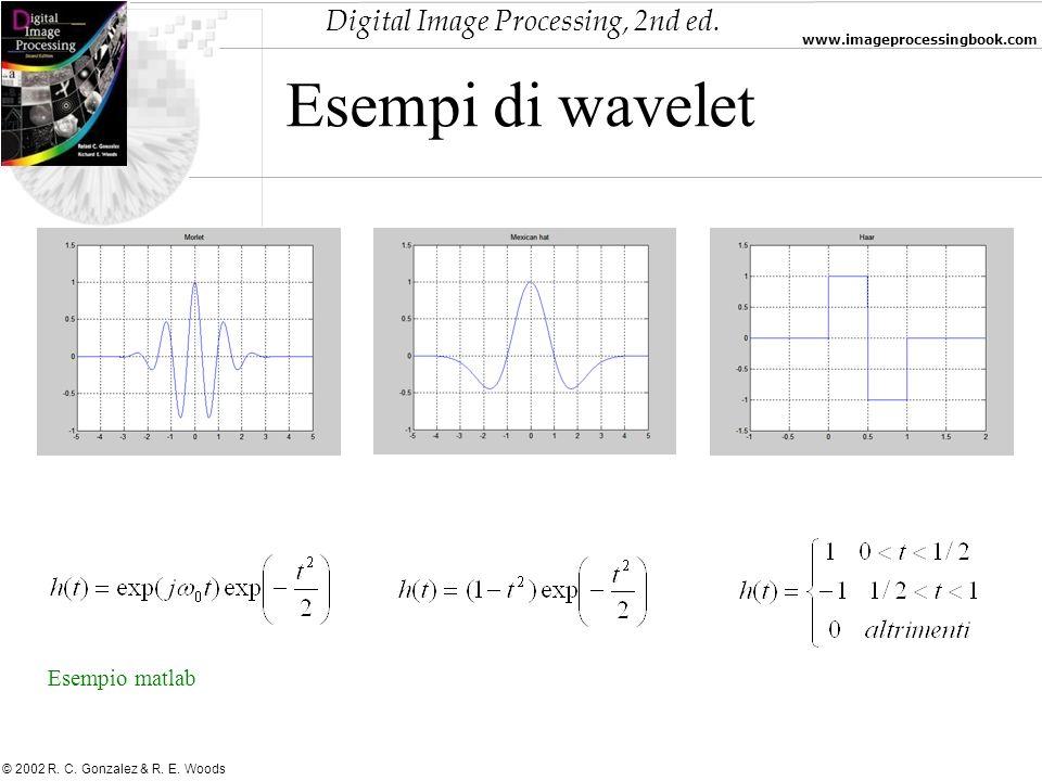 Digital Image Processing, 2nd ed. www.imageprocessingbook.com © 2002 R. C. Gonzalez & R. E. Woods Esempi di wavelet Esempio matlab