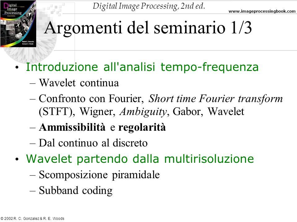 Digital Image Processing, 2nd ed. www.imageprocessingbook.com © 2002 R. C. Gonzalez & R. E. Woods Argomenti del seminario 1/3 Introduzione all'analisi