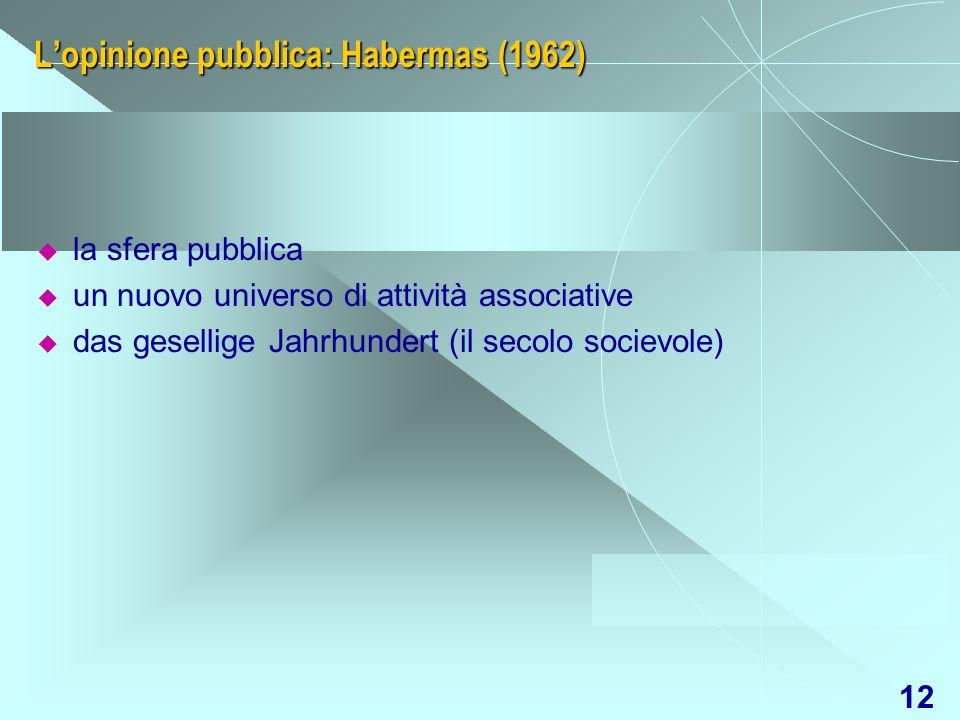 12 Lopinione pubblica: Habermas (1962) la sfera pubblica un nuovo universo di attività associative das gesellige Jahrhundert (il secolo socievole)