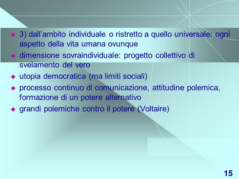 15 3) dallambito individuale o ristretto a quello universale: ogni aspetto della vita umana ovunque dimensione sovraindividuale: progetto collettivo d