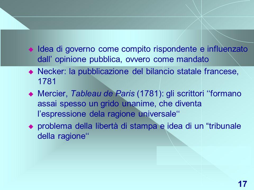 17 Idea di governo come compito rispondente e influenzato dall opinione pubblica, ovvero come mandato Necker: la pubblicazione del bilancio statale fr