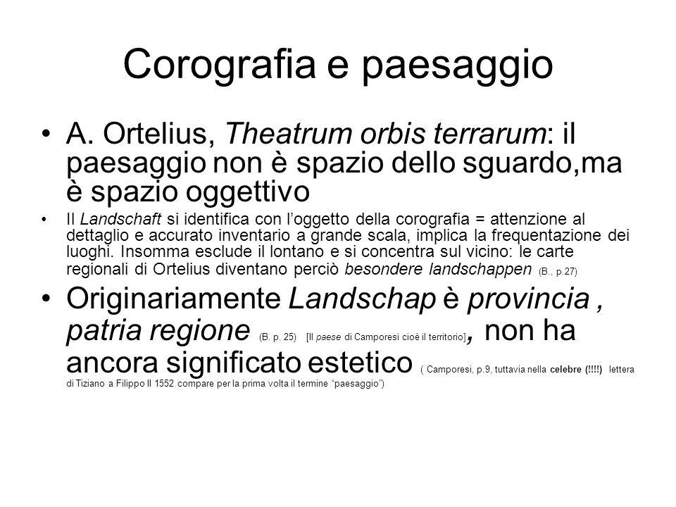 Corografia e paesaggio A. Ortelius, Theatrum orbis terrarum: il paesaggio non è spazio dello sguardo,ma è spazio oggettivo Il Landschaft si identifica