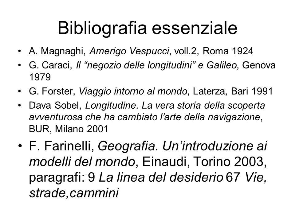 Bibliografia essenziale A.Magnaghi, Amerigo Vespucci, voll.2, Roma 1924 G.