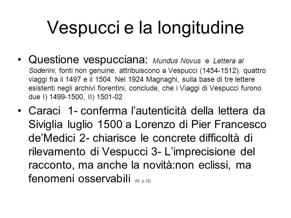 Vespucci e la longitudine Questione vespucciana: Mundus Novus e Lettera al Soderini, fonti non genuine, attribuiscono a Vespucci (1454-1512).