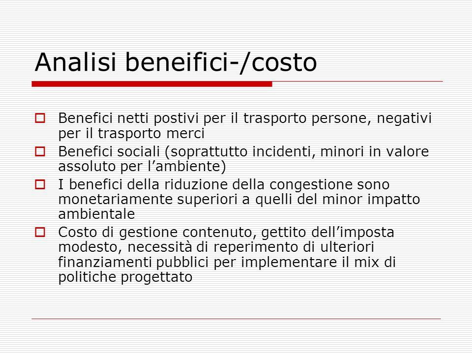 Analisi beneifici-/costo Benefici netti postivi per il trasporto persone, negativi per il trasporto merci Benefici sociali (soprattutto incidenti, min