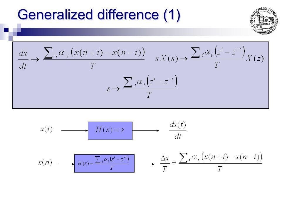 Forward difference (2) Considerazioni: NON Mantiene la stabilita La risposta in frequenza risulta alterata tanto piu quanto maggiore e T tanto piu ver