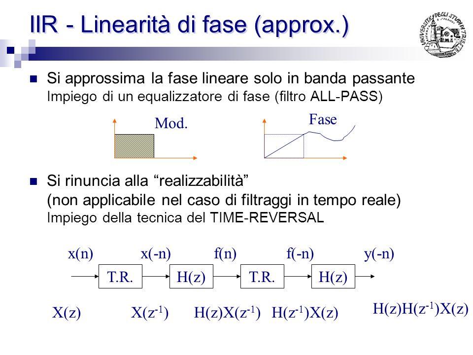 IIR - Linearità di fase Esiste un legame fase linere risposta impulsiva di simmetria o antisimmetria di h(n). Ma h(n) è infinita Un IIR a fase linare
