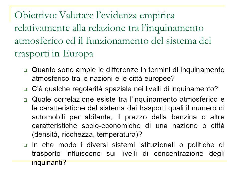 Obiettivo: Valutare levidenza empirica relativamente alla relazione tra linquinamento atmosferico ed il funzionamento del sistema dei trasporti in Eur
