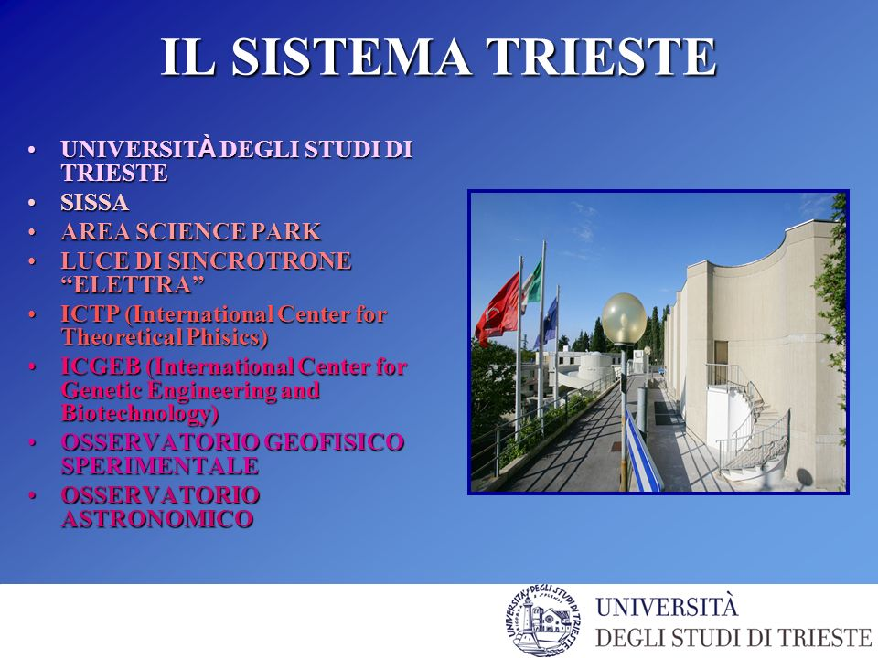 IL SISTEMA TRIESTE UNIVERSIT À DEGLI STUDI DI TRIESTEUNIVERSIT À DEGLI STUDI DI TRIESTE SISSASISSA AREA SCIENCE PARKAREA SCIENCE PARK LUCE DI SINCROTRONE ELETTRALUCE DI SINCROTRONE ELETTRA ICTP (International Center for Theoretical Phisics)ICTP (International Center for Theoretical Phisics) ICGEB (International Center for Genetic Engineering and Biotechnology)ICGEB (International Center for Genetic Engineering and Biotechnology) OSSERVATORIO GEOFISICO SPERIMENTALEOSSERVATORIO GEOFISICO SPERIMENTALE OSSERVATORIO ASTRONOMICOOSSERVATORIO ASTRONOMICO