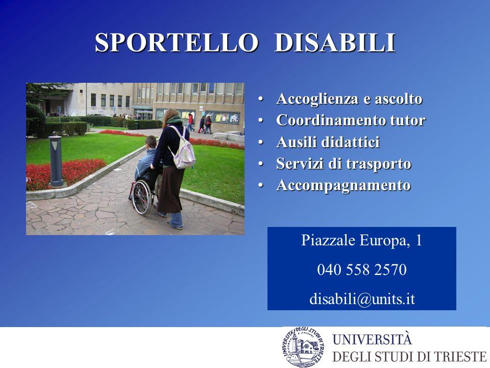 SPORTELLO DISABILI Accoglienza e ascoltoAccoglienza e ascolto Coordinamento tutorCoordinamento tutor Ausili didatticiAusili didattici Servizi di trasportoServizi di trasporto AccompagnamentoAccompagnamento Piazzale Europa, 1 040 558 2570 disabili@units.it