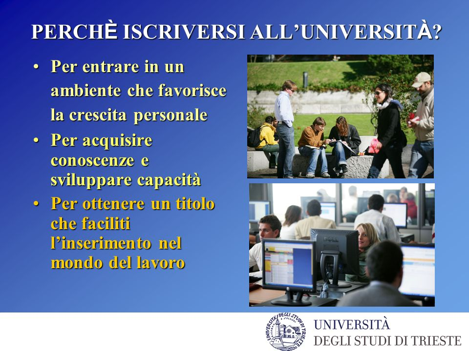 IL SISTEMA TRIESTE UNIVERSIT À DEGLI STUDI DI TRIESTEUNIVERSIT À DEGLI STUDI DI TRIESTE SISSASISSA AREA SCIENCE PARKAREA SCIENCE PARK LUCE DI SINCROTRONE ELETTRALUCE DI SINCROTRONE ELETTRA ICTP (International Center for Theoretical Phisics)ICTP (International Center for Theoretical Phisics) ICGEB (International Center for Genetic Engineering and Biotechnology)ICGEB (International Center for Genetic Engineering and Biotechnology) OSSERVATORIO GEOFISICO SPERIMENTALEOSSERVATORIO GEOFISICO SPERIMENTALE OSSERVATORIO ASTRONOMICOOSSERVATORIO ASTRONOMICO