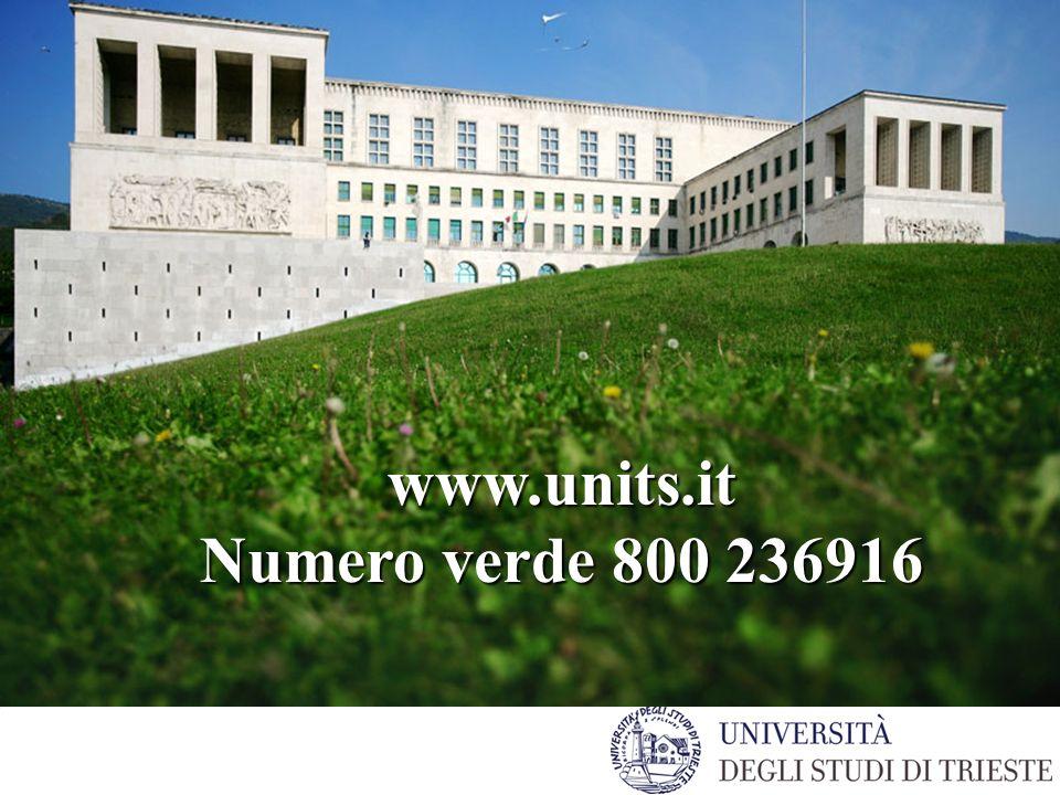 www.units.it Numero verde 800 236916