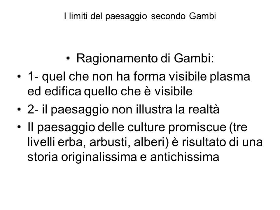 I limiti del paesaggio secondo Gambi Ragionamento di Gambi: 1- quel che non ha forma visibile plasma ed edifica quello che è visibile 2- il paesaggio