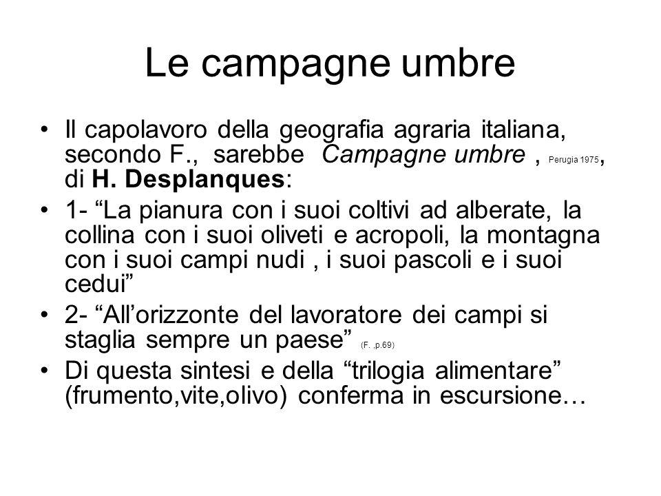 Le campagne umbre Il capolavoro della geografia agraria italiana, secondo F., sarebbe Campagne umbre, Perugia 1975, di H. Desplanques: 1- La pianura c
