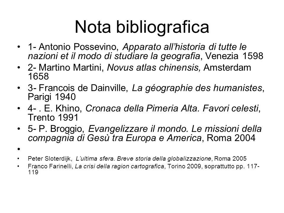 Nota bibliografica 1- Antonio Possevino, Apparato allhistoria di tutte le nazioni et il modo di studiare la geografia, Venezia 1598 2- Martino Martini