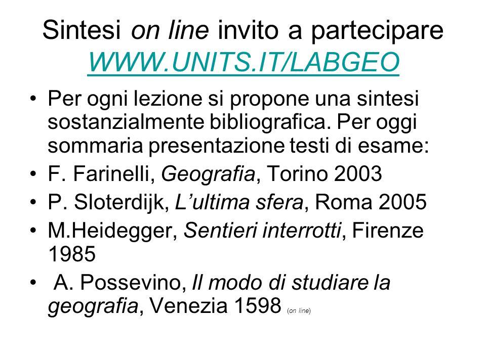 Sintesi on line invito a partecipare WWW.UNITS.IT/LABGEO WWW.UNITS.IT/LABGEO Per ogni lezione si propone una sintesi sostanzialmente bibliografica.
