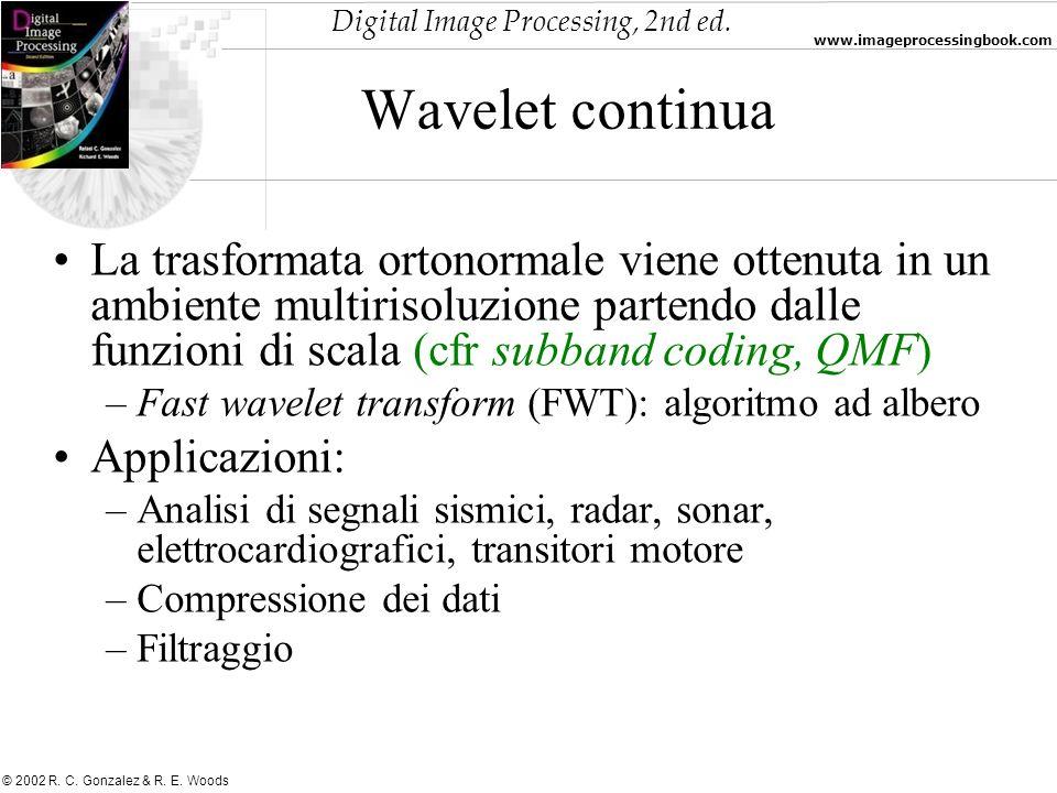 Digital Image Processing, 2nd ed. www.imageprocessingbook.com © 2002 R. C. Gonzalez & R. E. Woods Wavelet continua La trasformata ortonormale viene ot