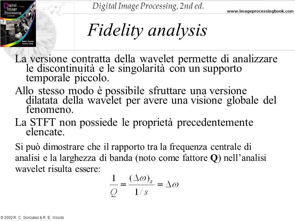 Digital Image Processing, 2nd ed. www.imageprocessingbook.com © 2002 R. C. Gonzalez & R. E. Woods Fidelity analysis La versione contratta della wavele