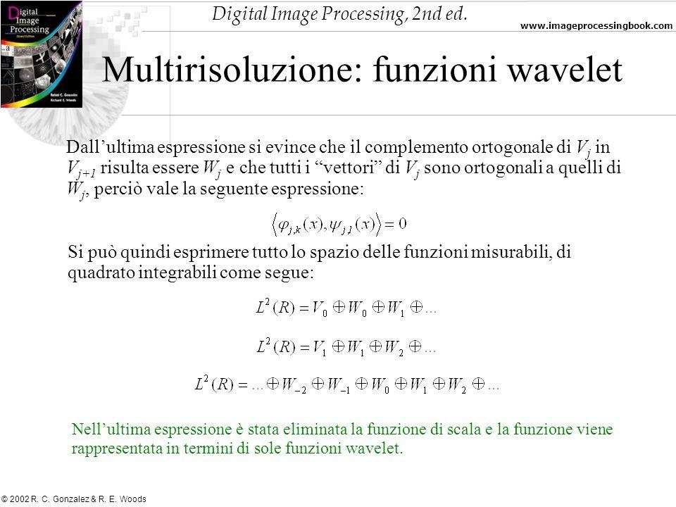 Digital Image Processing, 2nd ed. www.imageprocessingbook.com © 2002 R. C. Gonzalez & R. E. Woods Multirisoluzione: funzioni wavelet Dallultima espres