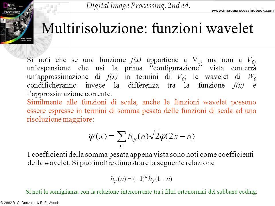 Digital Image Processing, 2nd ed. www.imageprocessingbook.com © 2002 R. C. Gonzalez & R. E. Woods Multirisoluzione: funzioni wavelet Si noti che se un