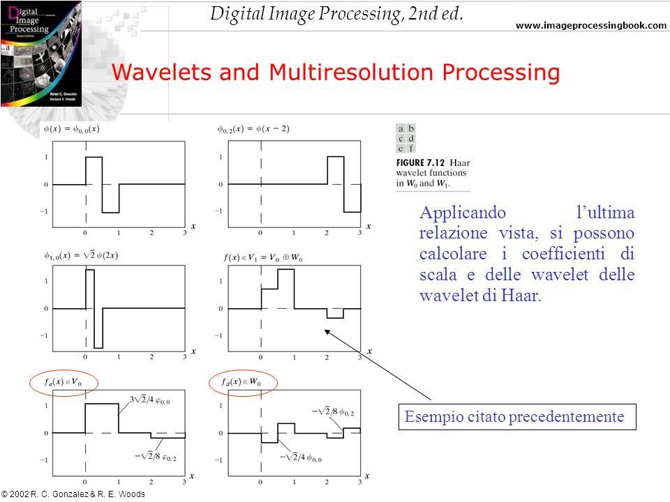Digital Image Processing, 2nd ed. www.imageprocessingbook.com © 2002 R. C. Gonzalez & R. E. Woods Wavelets and Multiresolution Processing Applicando l