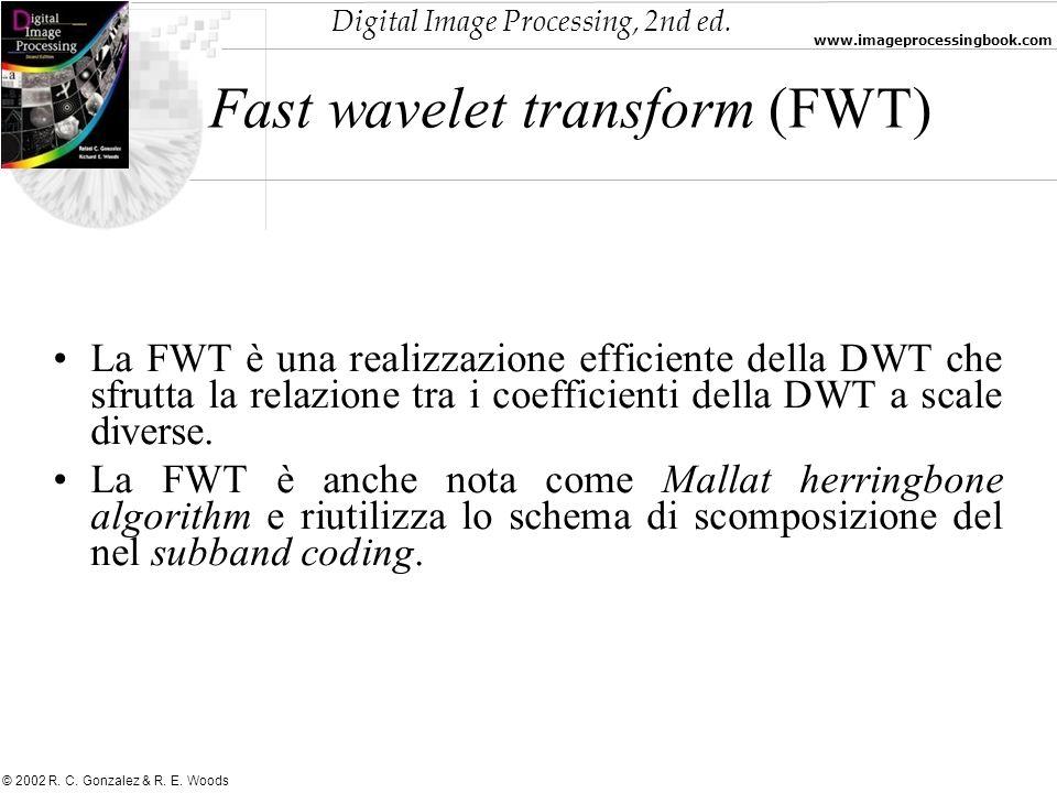 Digital Image Processing, 2nd ed. www.imageprocessingbook.com © 2002 R. C. Gonzalez & R. E. Woods Fast wavelet transform (FWT) La FWT è una realizzazi