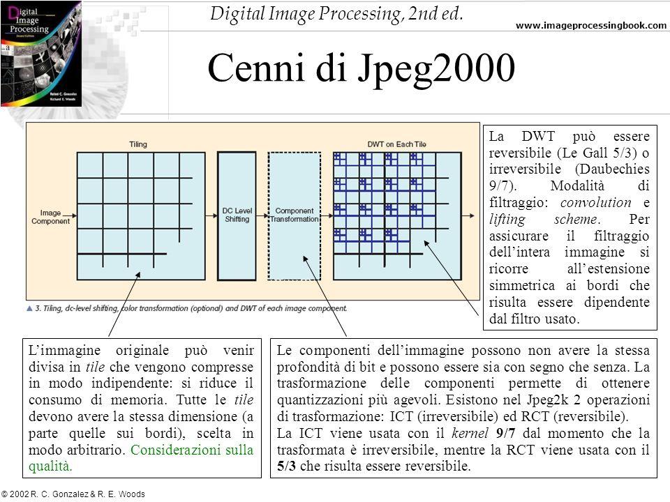 Digital Image Processing, 2nd ed. www.imageprocessingbook.com © 2002 R. C. Gonzalez & R. E. Woods Cenni di Jpeg2000 Limmagine originale può venir divi
