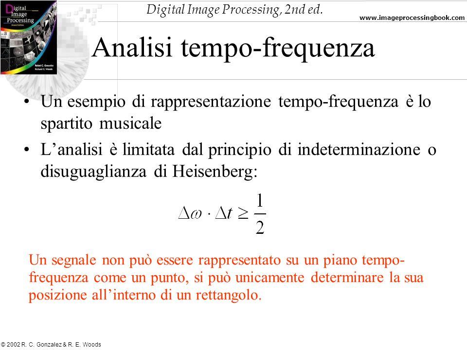 Digital Image Processing, 2nd ed. www.imageprocessingbook.com © 2002 R. C. Gonzalez & R. E. Woods Analisi tempo-frequenza Un esempio di rappresentazio