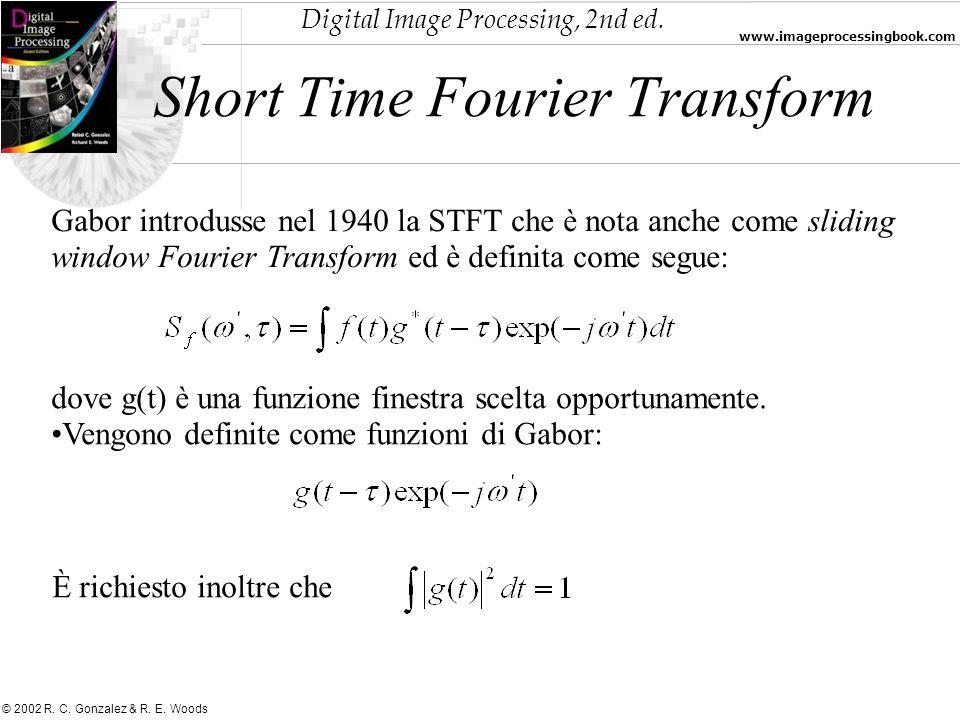 Digital Image Processing, 2nd ed. www.imageprocessingbook.com © 2002 R. C. Gonzalez & R. E. Woods Short Time Fourier Transform Gabor introdusse nel 19