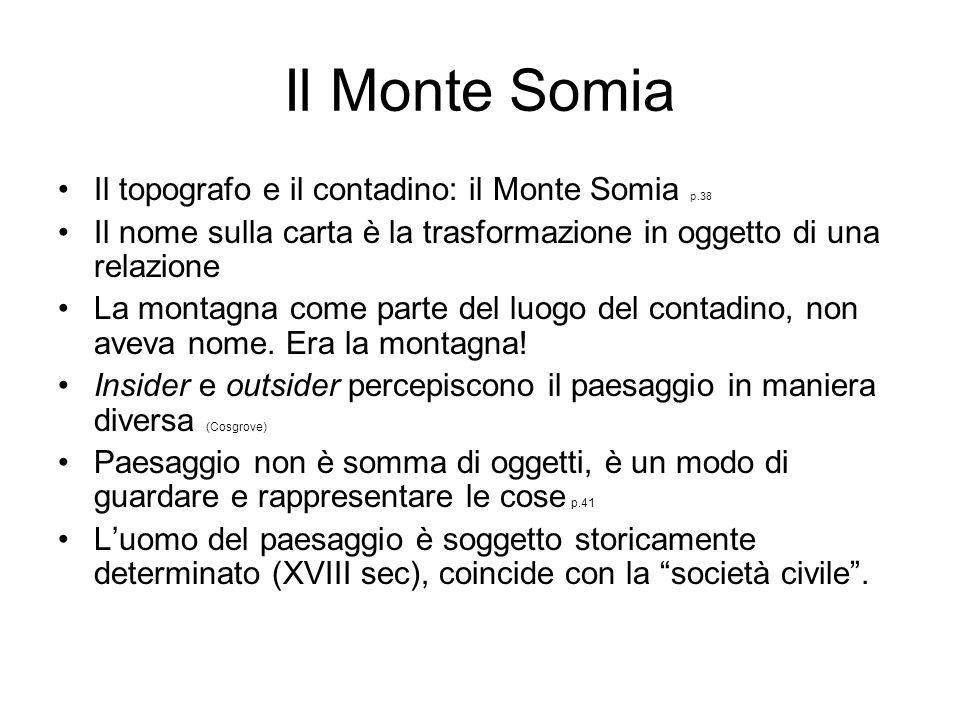 Il Monte Somia Il topografo e il contadino: il Monte Somia p.38 Il nome sulla carta è la trasformazione in oggetto di una relazione La montagna come p
