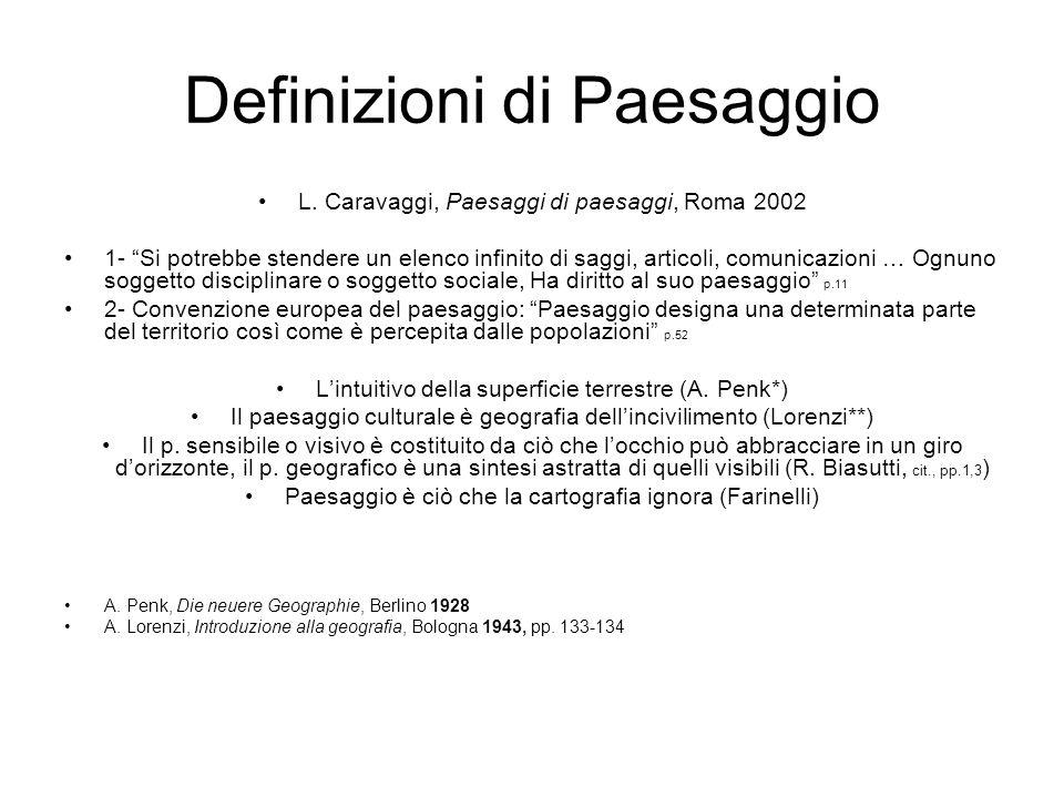 Definizioni di Paesaggio L. Caravaggi, Paesaggi di paesaggi, Roma 2002 1- Si potrebbe stendere un elenco infinito di saggi, articoli, comunicazioni …