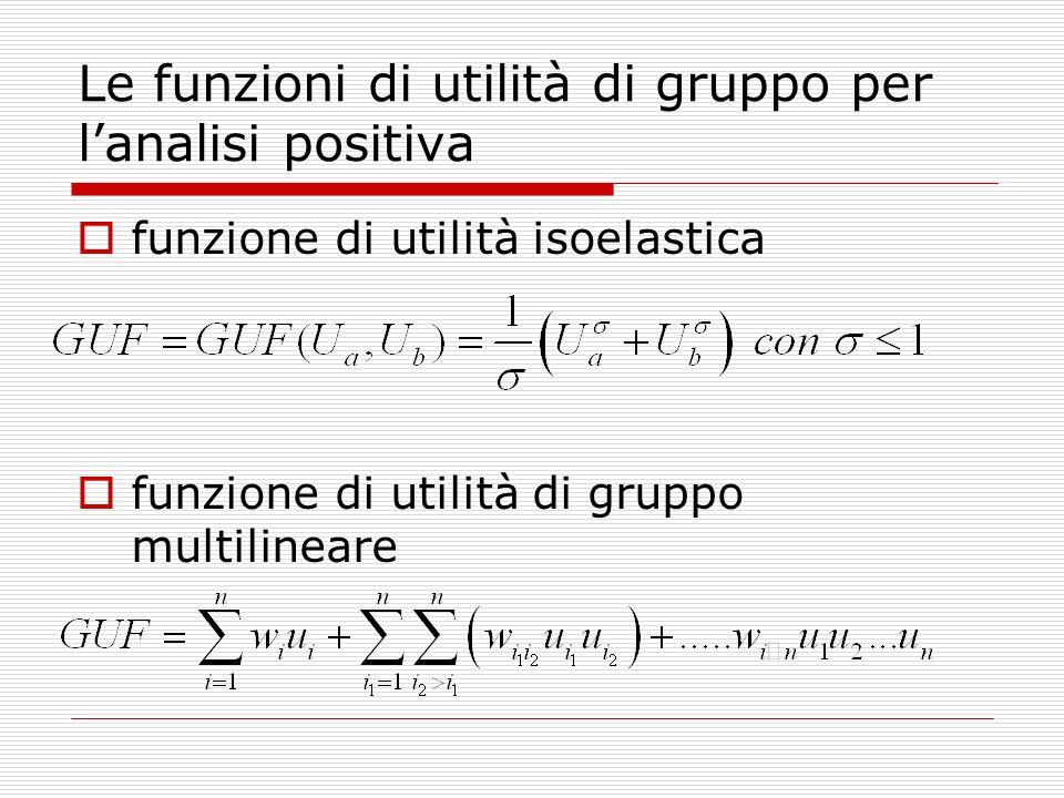 Le funzioni di utilità di gruppo per lanalisi positiva funzione di utilità isoelastica funzione di utilità di gruppo multilineare