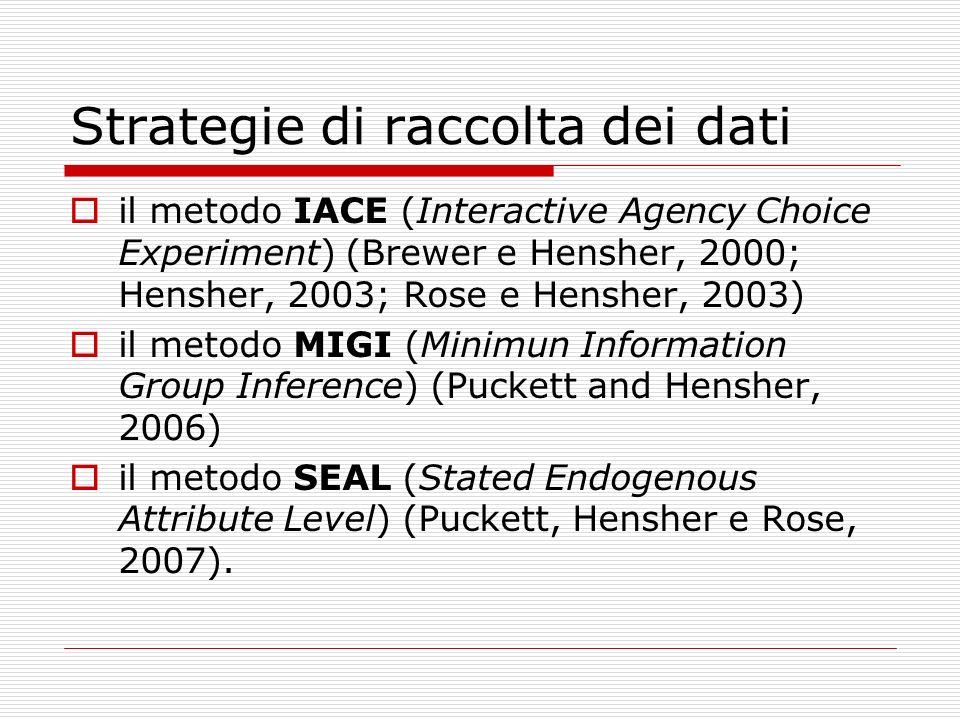 Strategie di raccolta dei dati il metodo IACE (Interactive Agency Choice Experiment) (Brewer e Hensher, 2000; Hensher, 2003; Rose e Hensher, 2003) il