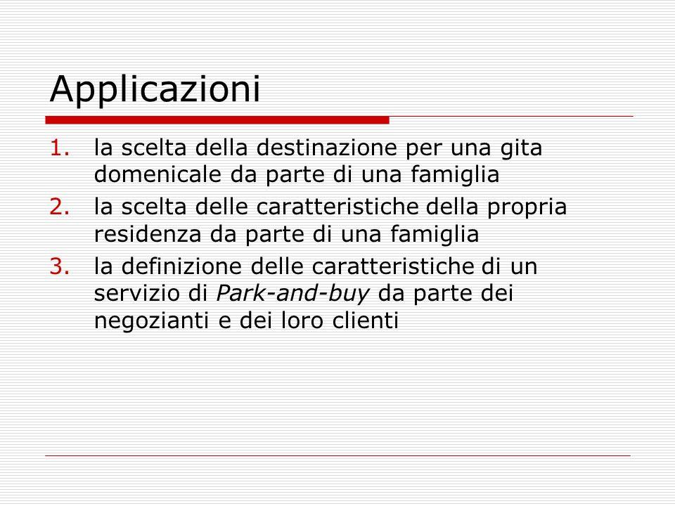 Applicazioni 1.la scelta della destinazione per una gita domenicale da parte di una famiglia 2.la scelta delle caratteristiche della propria residenza