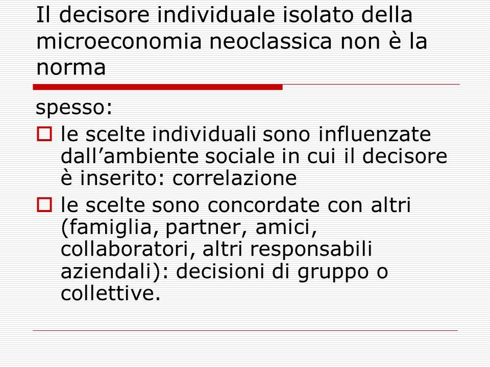 Il decisore individuale isolato della microeconomia neoclassica non è la norma spesso: le scelte individuali sono influenzate dallambiente sociale in