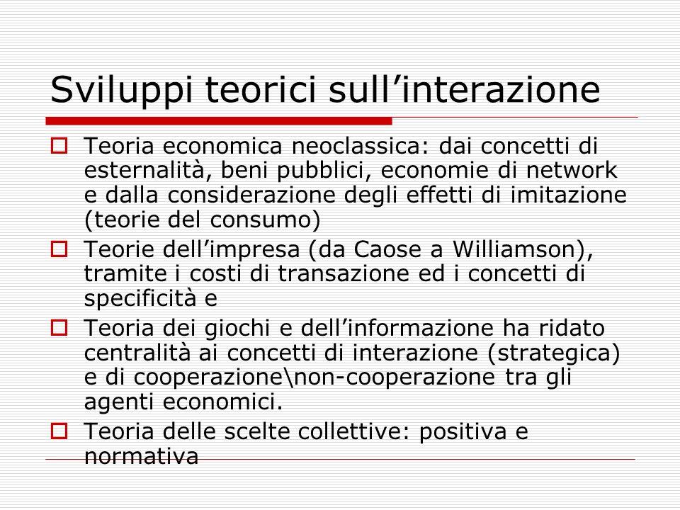 Sviluppi teorici sullinterazione Teoria economica neoclassica: dai concetti di esternalità, beni pubblici, economie di network e dalla considerazione