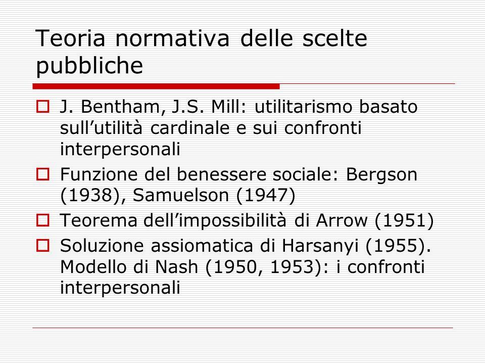 Teoria normativa delle scelte pubbliche J. Bentham, J.S. Mill: utilitarismo basato sullutilità cardinale e sui confronti interpersonali Funzione del b