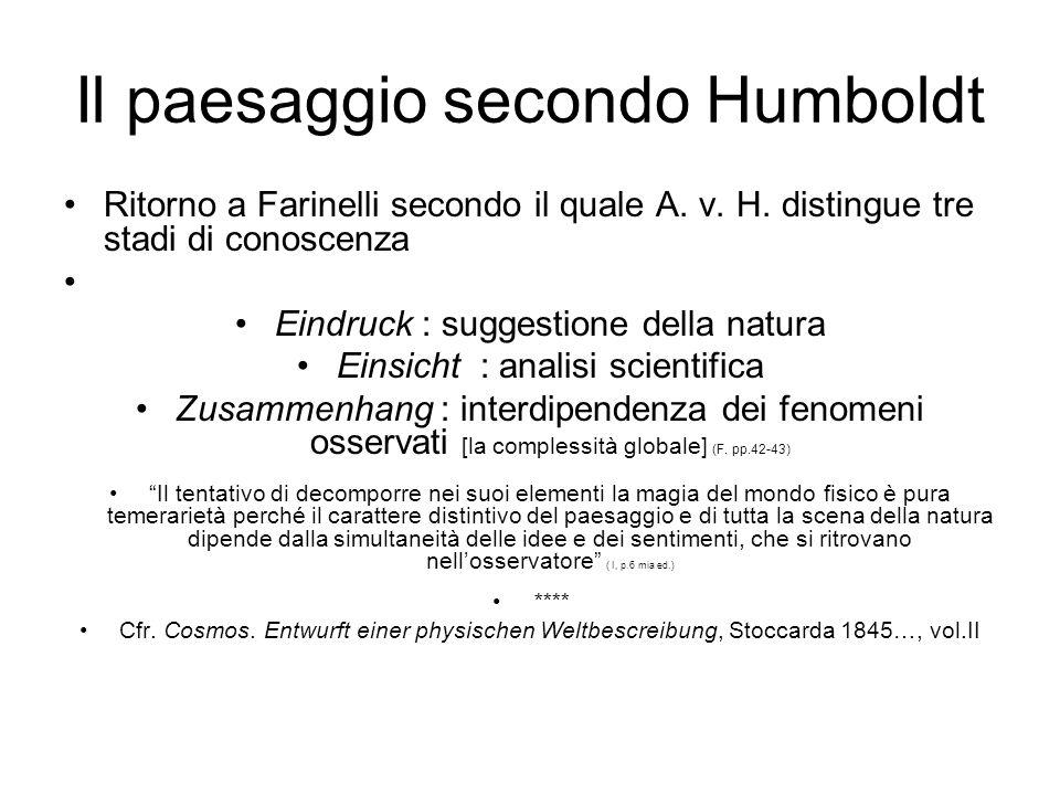 Il paesaggio secondo Humboldt Ritorno a Farinelli secondo il quale A. v. H. distingue tre stadi di conoscenza Eindruck : suggestione della natura Eins