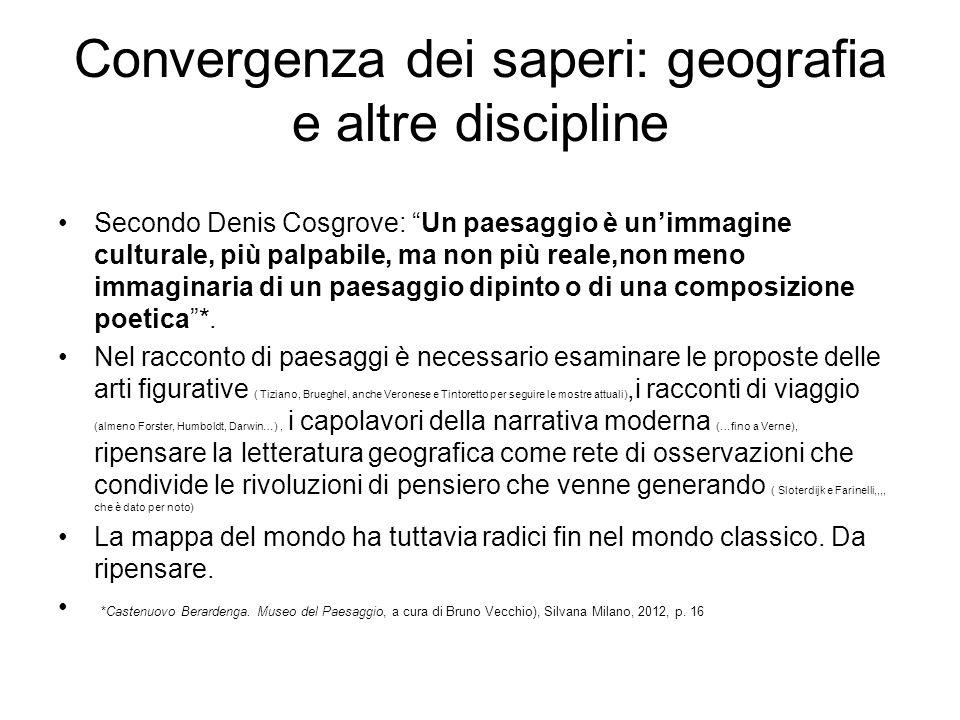 Convergenza dei saperi: geografia e altre discipline Secondo Denis Cosgrove: Un paesaggio è unimmagine culturale, più palpabile, ma non più reale,non