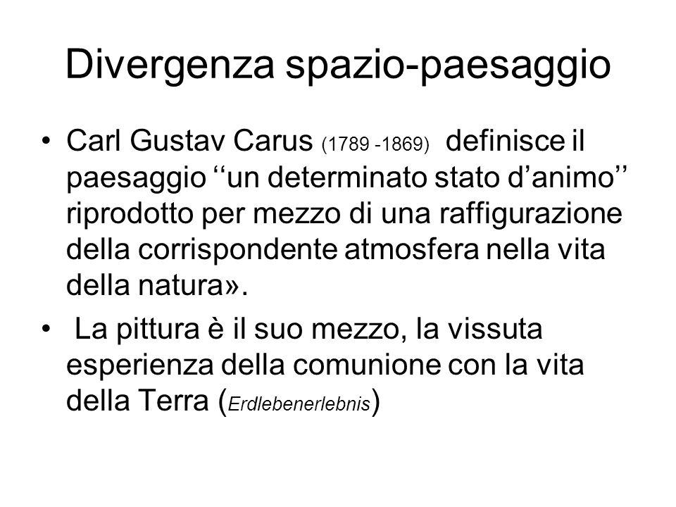 Divergenza spazio-paesaggio Carl Gustav Carus (1789 -1869) definisce il paesaggio un determinato stato danimo riprodotto per mezzo di una raffigurazio