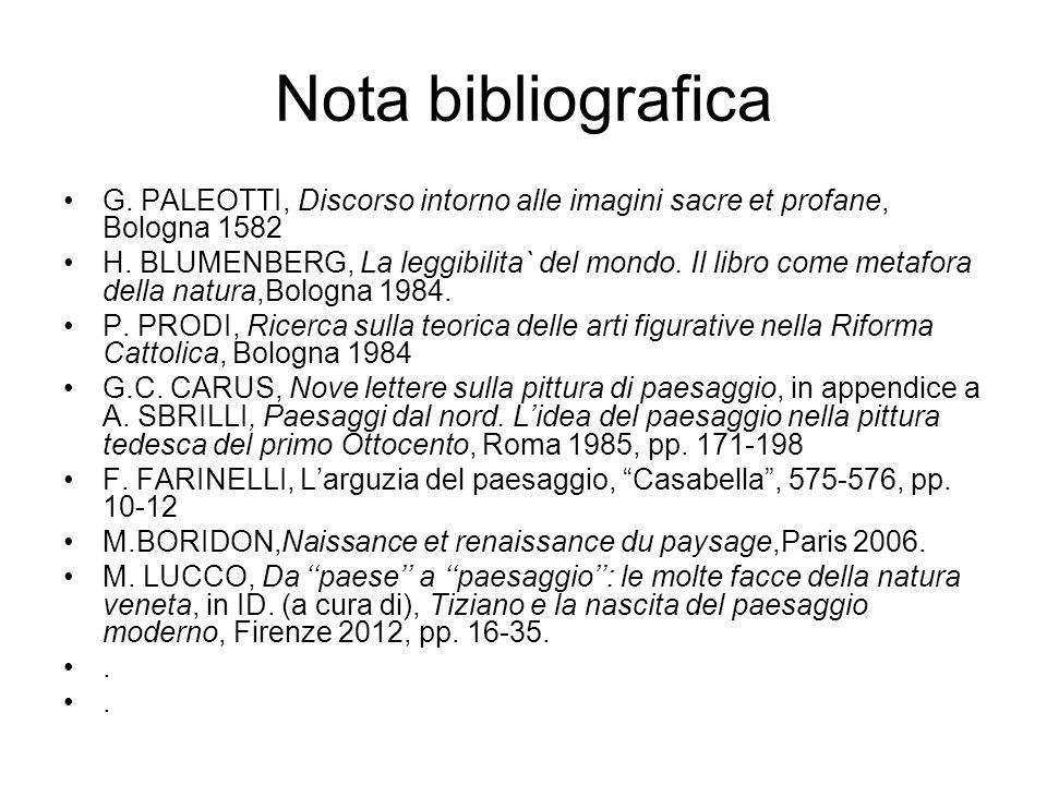 Nota bibliografica G. PALEOTTI, Discorso intorno alle imagini sacre et profane, Bologna 1582 H. BLUMENBERG, La leggibilita` del mondo. Il libro come m