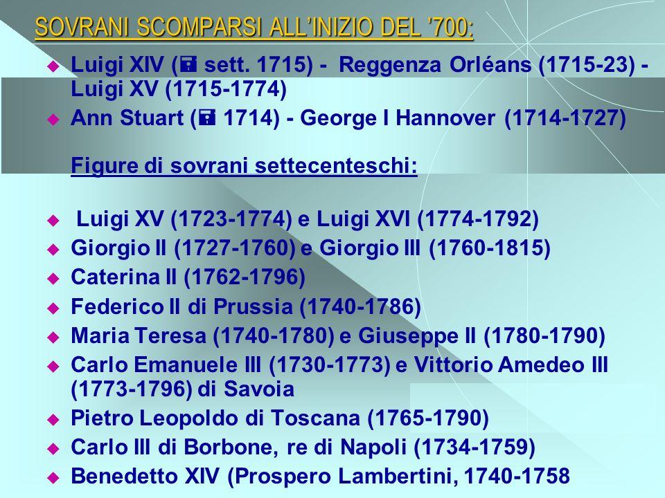 SOVRANI SCOMPARSI ALLINIZIO DEL 700: Luigi XIV ( sett. 1715) - Reggenza Orléans (1715-23) - Luigi XV (1715-1774) Ann Stuart ( 1714) - George I Hannove