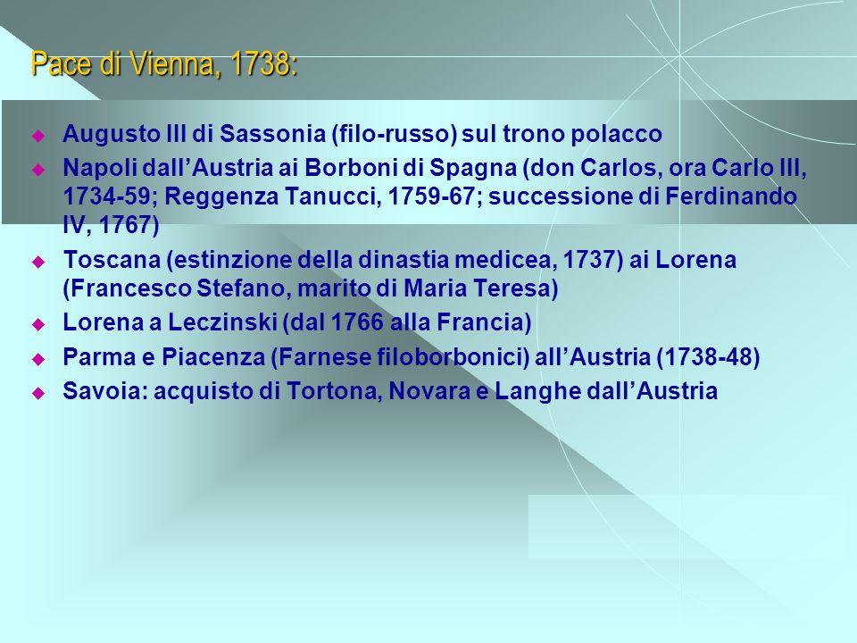 Pace di Vienna, 1738: Augusto III di Sassonia (filo-russo) sul trono polacco Napoli dallAustria ai Borboni di Spagna (don Carlos, ora Carlo III, 1734-