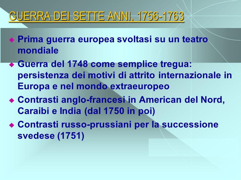 GUERRA DEI SETTE ANNI, 1756-1763 Prima guerra europea svoltasi su un teatro mondiale Guerra del 1748 come semplice tregua: persistenza dei motivi di a