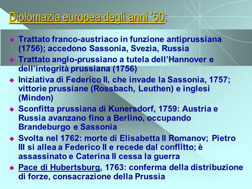 Diplomazia europea degli anni 50: Trattato franco-austriaco in funzione antiprussiana (1756); accedono Sassonia, Svezia, Russia Trattato anglo-prussia