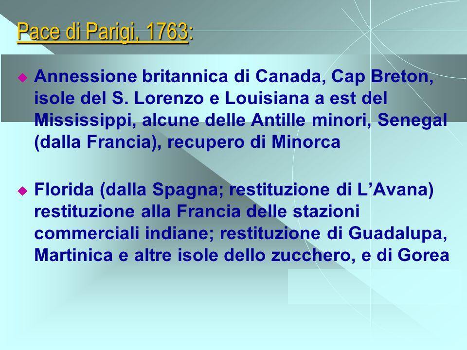 Pace di Parigi, 1763: Annessione britannica di Canada, Cap Breton, isole del S. Lorenzo e Louisiana a est del Mississippi, alcune delle Antille minori
