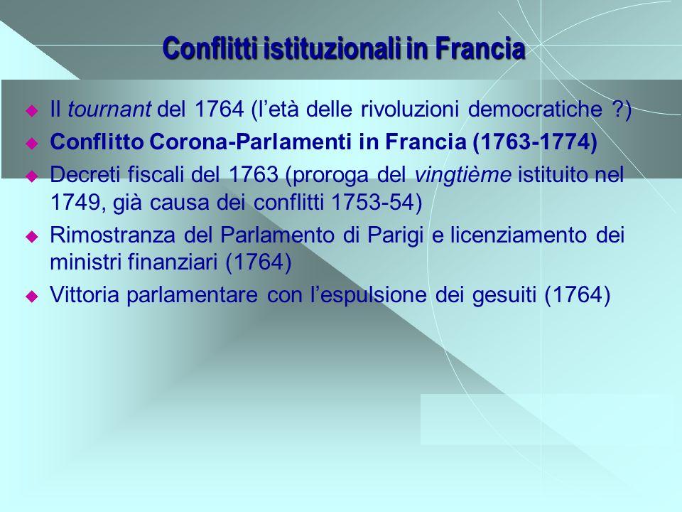 Conflitti istituzionali in Francia Il tournant del 1764 (letà delle rivoluzioni democratiche ?) Conflitto Corona-Parlamenti in Francia (1763-1774) Dec