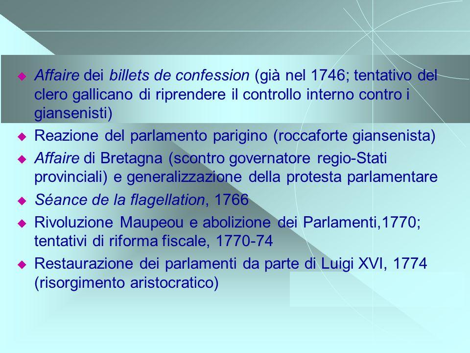 Affaire dei billets de confession (già nel 1746; tentativo del clero gallicano di riprendere il controllo interno contro i giansenisti) Reazione del p