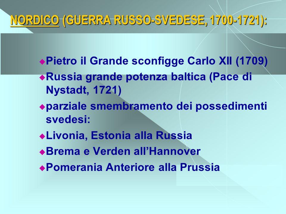 NORDICO (GUERRA RUSSO-SVEDESE, 1700-1721): Pietro il Grande sconfigge Carlo XII (1709) Russia grande potenza baltica (Pace di Nystadt, 1721) parziale