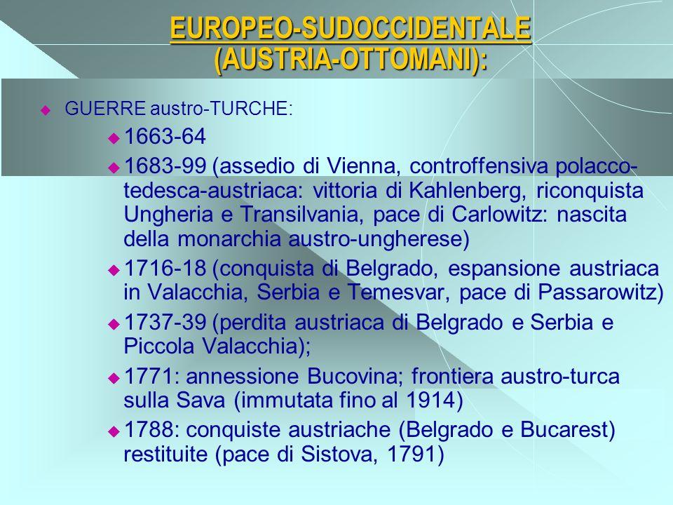 CENTROASIATICO: ESPANSIONE RUSSA VERSO IL MAR NERO E GUERRE RUSSO-TURCHE PER LA CRIMEA: 1737-39 (fallita spedizione contro la Crimea) 1769-1774 (spedizioni russe in Moldavia, Valacchia, regione del Dniestr, Crimea; trattato di Kuciuk-Kainarge, 1774: alla Russia: frontiera del Dniestr, Azov, controllo Moldavia e Valacchia) 1774 e 1787-88 (conquista russa della Crimea)